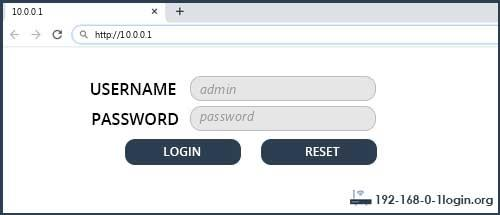 10.0.0.1 default username password