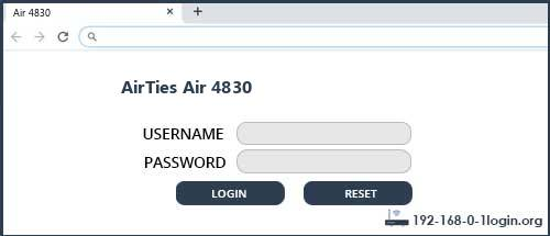 AirTies router router default login