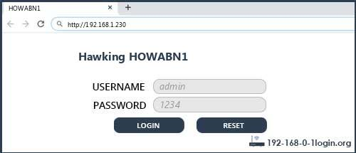 Hawking router router default login