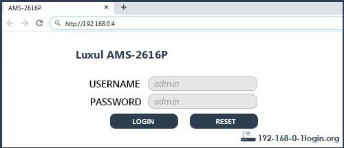 Luxul AMS-2616P router default login