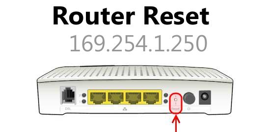 169.254.1.250 router reset