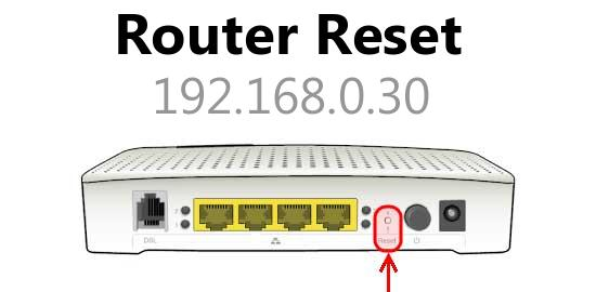 192.168.0.30 router reset
