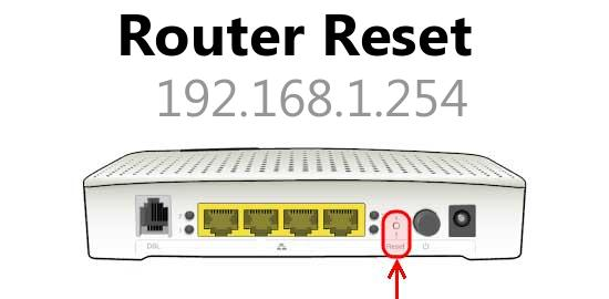 192.168.1.254 router reset