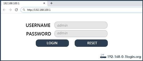 192.168.100.1 default username password