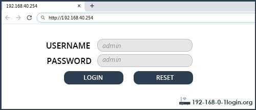 192.168.40.254 default username password