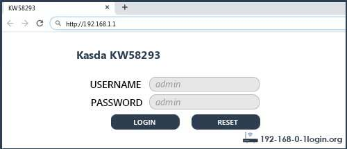 Kasda KW58293 router default login