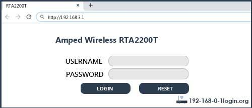 Amped Wireless router router default login