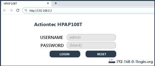 Actiontec HPAP108T router default login