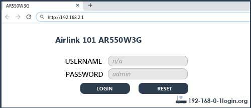 Airlink 101 AR550W3G router default login
