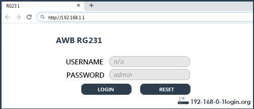 AWB router router default login