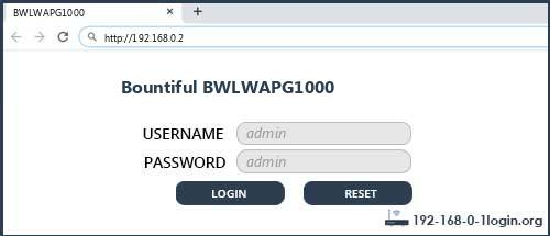 Bountiful BWLWAPG1000 router default login