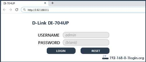 D-Link DI-704UP router default login