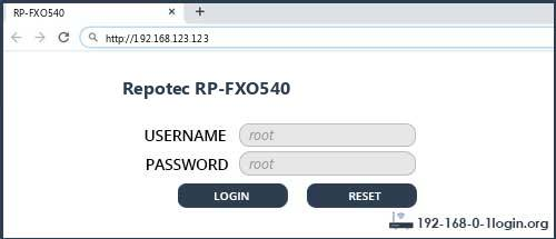 Repotec router router default login