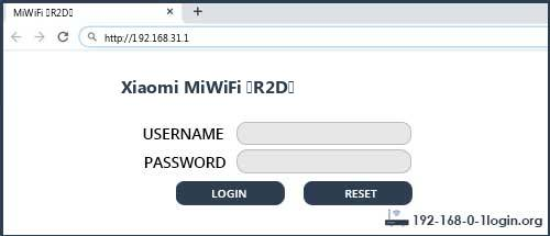 Xiaomi router router default login