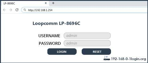 Loopcomm LP-8696C router default login