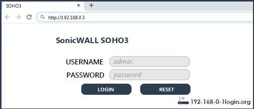 SonicWALL SOHO3 router default login