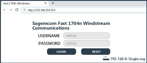 Sagemcom Fast 1704n Windstream Communications router default login