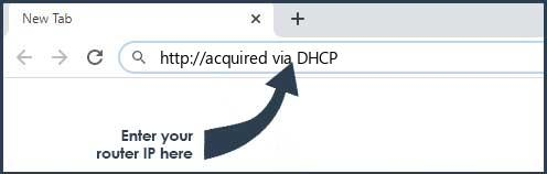 acquired via DHCP login page